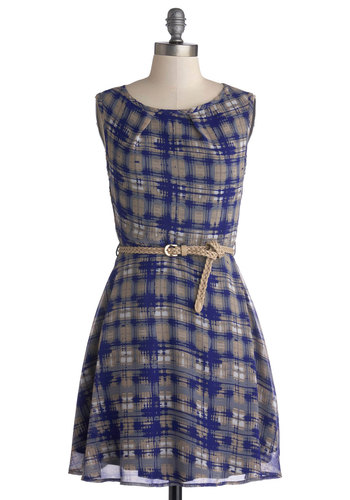 Waveform and Function Dress - Chiffon, Woven, Blue, Grey, Plaid, Belted, Casual, A-line, Sleeveless, Good, Scoop, Short