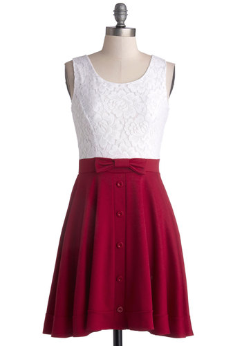 Town Festival Dress in Cherry - Knit, Woven, Red, White, Bows, Buttons, Lace, Casual, A-line, Tank top (2 thick straps), Good, Scoop, Variation, Mid-length, Full-Size Run