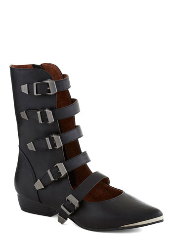Avant Garb Boots - Black, Silver, Solid, Buckles, Cutout, Low, Faux Leather, Better, Urban
