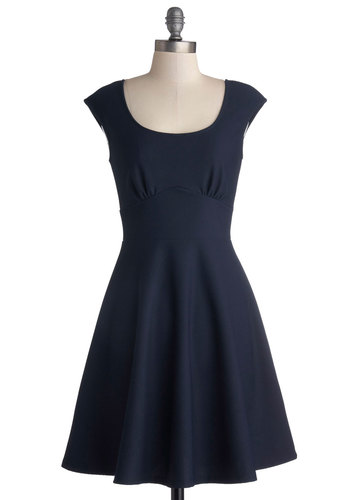 Medal Ceremony Dress - Woven, Blue, Solid, A-line, Good, Scoop, Work, Daytime Party, Minimal, Cap Sleeves, Mid-length