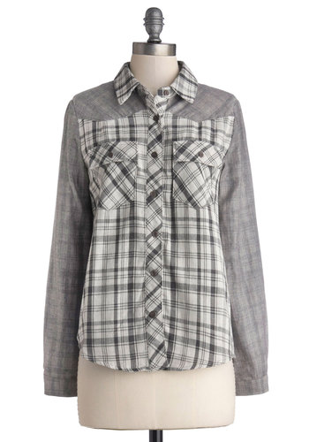 Bonfire Fun Top - Mid-length, Cotton, Woven, Grey, Black, White, Plaid, Buttons, Pockets, Casual, Better, Rustic, Button Down, Collared, 90s, Gifts Sale, Grey, Long Sleeve