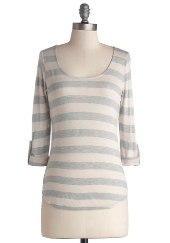 Know Your Neighbors Top in Grey and White - Cream, Grey, Stripes, Casual, 3/4 Sleeve, Good, Jersey, Knit, Cutout, Variation, Scoop, Mid-length, Tab Sleeve, Grey