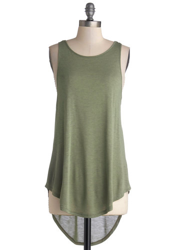 Sooner or Layer Top in Sage - Jersey, Knit, Long, Green, Solid, Casual, High-Low Hem, Racerback, Good, Variation, Minimal, Basic, Scoop, Military, Green, Sleeveless, Sleeveless