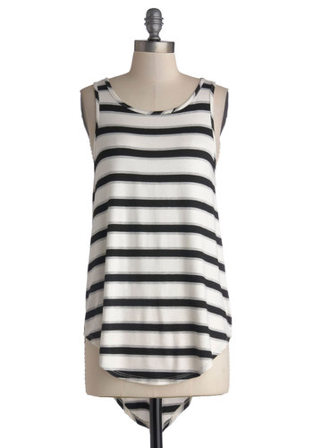 Morning Cup of Coffee Top in Black - Mid-length, Jersey, Knit, Multi, Black, White, Stripes, Casual, High-Low Hem, Racerback, Good, Grey, Variation, Scoop, White, Sleeveless