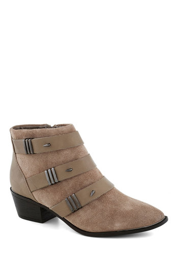 The Dark Night Bootie in Taupe - Mid, Faux Leather, Tan, Buckles, Better, Leather, Suede, Variation, Military
