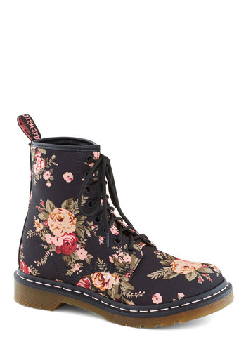 Breaking Ground Boot by Dr. Martens - Low, Woven, Black, Multi, Floral, Vintage Inspired, 90s, Better, Lace Up, Casual
