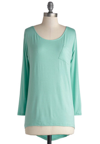 Tacoma Sweet Home Top in Mint - Mid-length, Jersey, Knit, Mint, Solid, Pockets, Casual, Long Sleeve, Better, Variation, Scoop, Green, Long Sleeve