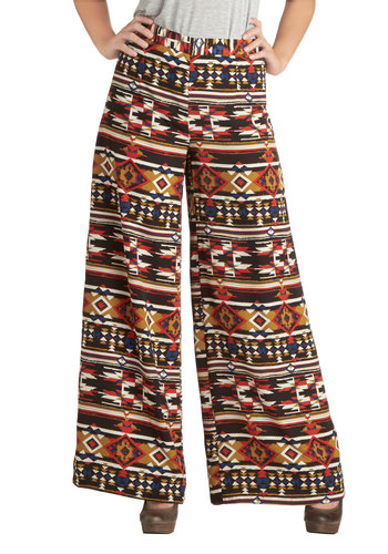 Firepit Fete Pants - Multi, Orange, Tan / Cream, White, Print, Boho, Casual, Vintage Inspired, 70s
