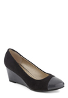 Wear to Work Wedge - Black, Grey, Work, Colorblocking, Mid, Wedge, Faux Leather, Exclusives, Good