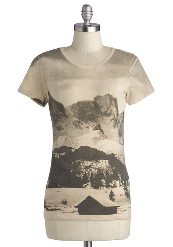 Panorama to Please Tee by Nice Things - Mid-length, Cotton, Tan, Casual, Short Sleeves, Better, Novelty Print, Jersey, Knit, Scoop, International Designer, Multi, Short Sleeve