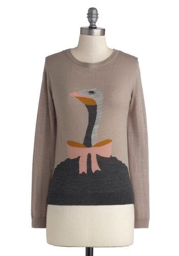 Wizard of Ostrich Sweater by Nice Things - Mid-length, Knit, Tan, Print with Animals, Long Sleeve, Best, International Designer, Pink, Grey, Quirky, Crew, Novelty Print, Brown, Long Sleeve