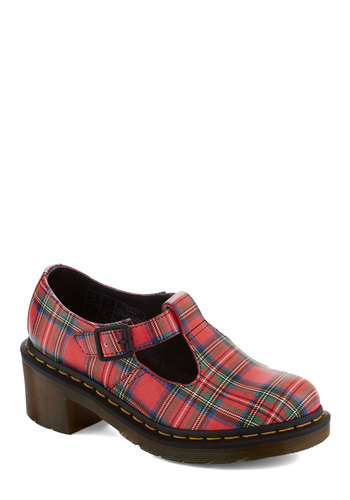 I Beg Your Tartan Heel by Dr. Martens - Red, Multi, Plaid, Cutout, Mid, Leather, Best, Casual, Vintage Inspired, 90s, Chunky heel, T-Strap