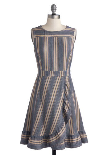 Macaron Your Day Dress by Mata Traders - Blue, Tan / Cream, Stripes, Ruffles, Casual, A-line, Tank top (2 thick straps), Crew, Mid-length, Cotton, Woven, Eco-Friendly, Show On Featured Sale