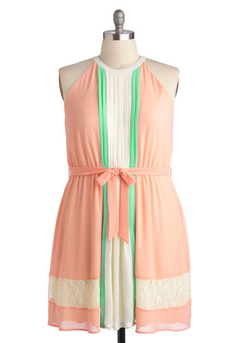 Melon Sorbet Dress in Plus Size - Chiffon, Woven, Pink, Green, White, Lace, Belted, Casual, A-line, Sleeveless, Good, Daytime Party, Pastel