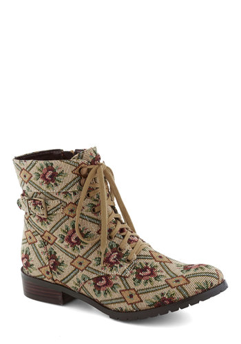 Don Drapery Boot by Restricted - Tan, Multi, Print, Lace Up, Low, Woven, Casual, 90s, Good, Folk Art