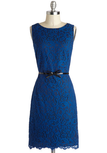 Forever Fabulous Dress in Sapphire - Blue, Variation, Mid-length, Knit, Solid, Lace, Belted, Party, Sheath / Shift, Sleeveless, Better, Scoop, Wedding, Work, Cocktail