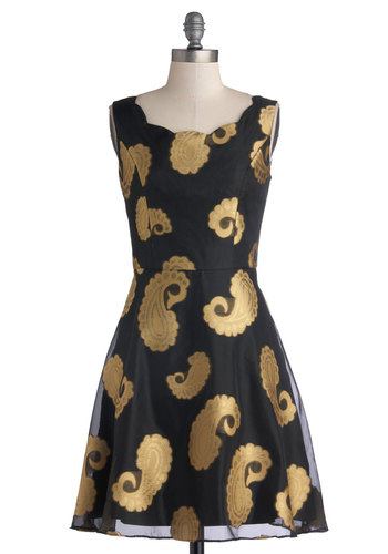 Fanfare Lady Dress - Mid-length, Woven, Black, Gold, Paisley, Party, A-line, Sleeveless, Better, Scoop, 20s
