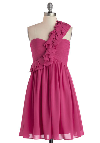 Dancing with Destiny Dress - Chiffon, Mid-length, Pink, Solid, Pleats, Ruffles, Prom, Wedding, Party, Cocktail, Bridesmaid, A-line, One Shoulder, Woven