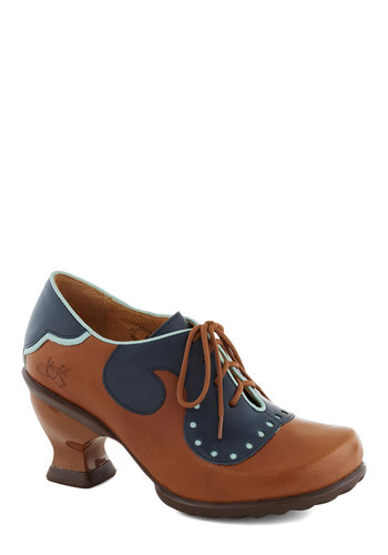 John Fluevog Academia Nut Heel by John Fluevog - Brown, Blue, Steampunk, Mid, Lace Up, Leather, Best, Work, Vintage Inspired, Scholastic/Collegiate, Folk Art
