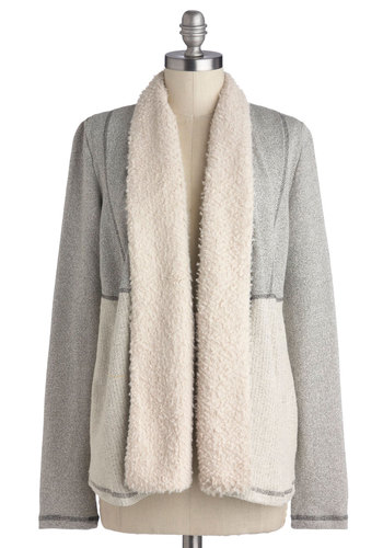 In for the Night Cardigan by Jack by BB Dakota - Cotton, Faux Fur, Knit, Grey, Tan / Cream, Solid, Pockets, Casual, Long Sleeve, Fall, Winter, Grey, Long Sleeve, Mid-length
