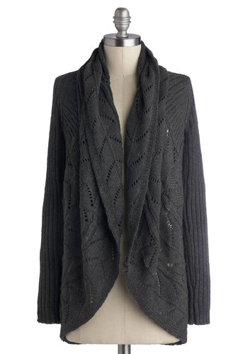 Purl Up With Me Cardigan in Charcoal - Knit, Grey, Knitted, Casual, Long Sleeve, Better, Fall, Grey, Long Sleeve, Mid-length