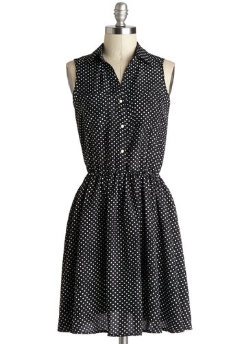 Act Vocally Dress - Mid-length, Woven, Black, White, Polka Dots, Buttons, Casual, Shirt Dress, Sleeveless, Good, Collared, Pockets