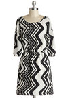 Op Music Dress - Mid-length, Woven, Chiffon, Black, White, Chevron, A-line, 3/4 Sleeve, Good, Scoop, Pockets, Casual