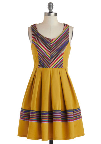 Impeccable Spectrum Dress - Knit, Yellow, Multi, Stripes, Casual, A-line, Tank top (2 thick straps), Scoop, Short, Jersey, Woven