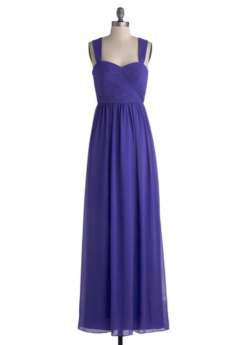 Sapphire Fireworks Dress - Purple, Solid, Ruching, Special Occasion, Prom, Wedding, Bridesmaid, Maxi, Sleeveless, Sweetheart, Long, Chiffon, Woven, Pleats