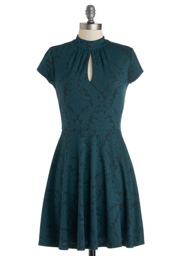 Ready to Role Dress - Short, Knit, Blue, Cutout, Party, A-line, Cap Sleeves, Better, Black, Print, 20s, 30s, 40s, Lace, Casual