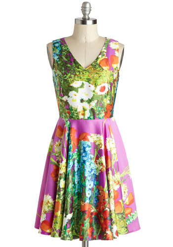 Fleur-escent Festivities Dress - Mid-length, Woven, Floral, Party, A-line, Tank top (2 thick straps), Better, V Neck, Multi, Daytime Party