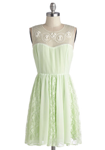 Honeydew Unto Others Dress - Mid-length, Chiffon, Woven, Green, White, Embroidery, Lace, Party, A-line, Sleeveless, Better, Pastel, Sheer