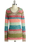 Sunday Stylin' Sweater - Multi, Stripes, Long Sleeve, Better, Knit, Mid-length, Casual, Scoop, 90s, Multi, Long Sleeve