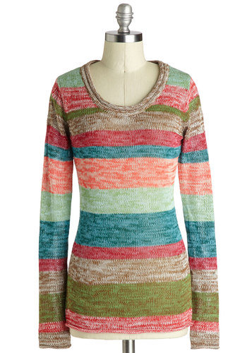 Sunday Stylin' Sweater - Multi, Stripes, Long Sleeve, Better, Knit, Mid-length, Casual, Scoop, 90s, Multi, Long Sleeve, Top Rated