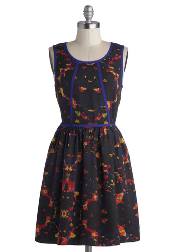 Viewfinder's Keepers Dress by Kensie - Red, Yellow, Blue, Print, Trim, A-line, Tank top (2 thick straps), Better, Scoop, Mid-length, Woven, Black, Exposed zipper, Casual