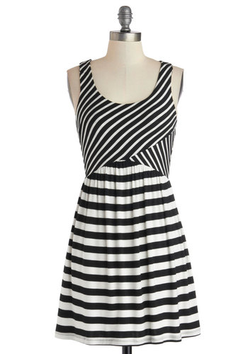 Creative Cooperative Dress - Short, Jersey, Knit, Black, White, Stripes, Casual, A-line, Tank top (2 thick straps), Good, Scoop