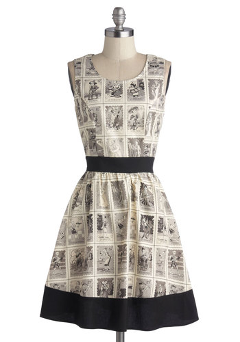 Skeleton of Fun Dress - Cotton, Woven, Black, Grey, Novelty Print, Cutout, A-line, Sleeveless, Better, Scoop, Cream, Casual, Rockabilly, Quirky, Exclusives, Halloween, Mid-length