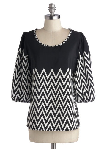 Guest Blogger Top - Black, White, Chevron, Work, 3/4 Sleeve, Better, Chiffon, Woven, Buttons, Scoop, Black, 3/4 Sleeve