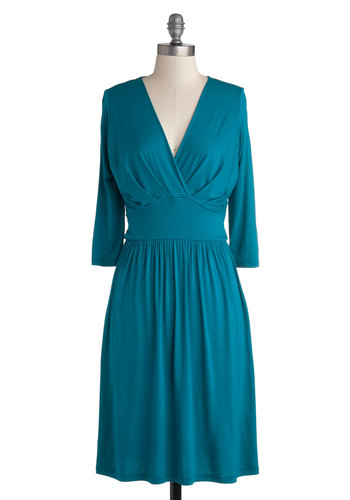 It's a Sign Dress - Blue, Solid, Casual, Minimal, A-line, 3/4 Sleeve, Good, V Neck, Jersey, Knit, Mid-length