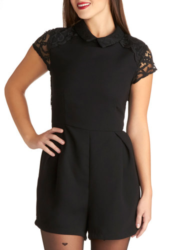 Vogue Rendezvous Romper - Sheer, Woven, Long, Black, Solid, Lace, Party, Cap Sleeves, Collared