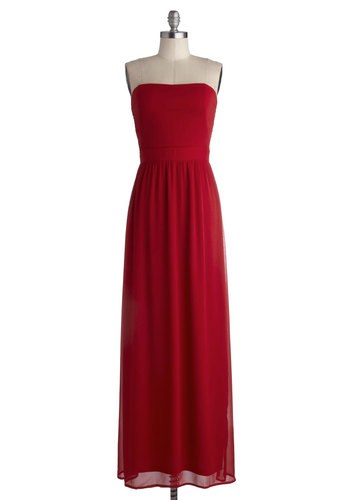Auspicious Occasion Dress - Long, Chiffon, Woven, Red, Solid, Special Occasion, Prom, Wedding, Party, Bridesmaid, Minimal, Maxi, Strapless