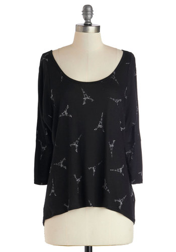 When Eiffel in Love Top - Black, Novelty Print, Travel, 3/4 Sleeve, Better, Mid-length, Jersey, Knit, Scoop, Black, 3/4 Sleeve