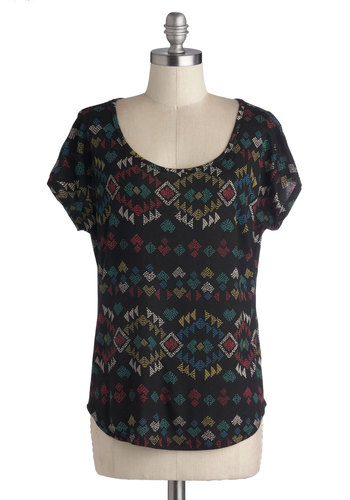 Before the Fete Top - Short Sleeves, Good, Mid-length, Jersey, Knit, Black, Multi, Print, Casual, Scoop, Black, Short Sleeve