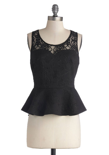Marvelous Mystique Top - Black, Solid, Party, Peplum, Sleeveless, Better, Sheer, Knit, Mid-length, Cocktail, Scoop, Black, Sleeveless