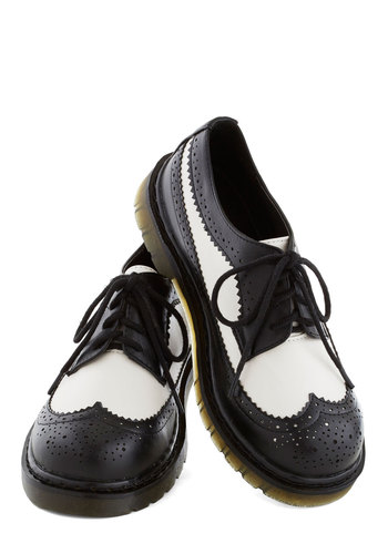 LP Librarian Flat - Black, White, Menswear Inspired, Low, Better, Platform, Lace Up, Faux Leather, Rockabilly