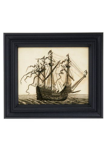 Retro Vessel Print - Black, Tan / Cream, Nautical, Good