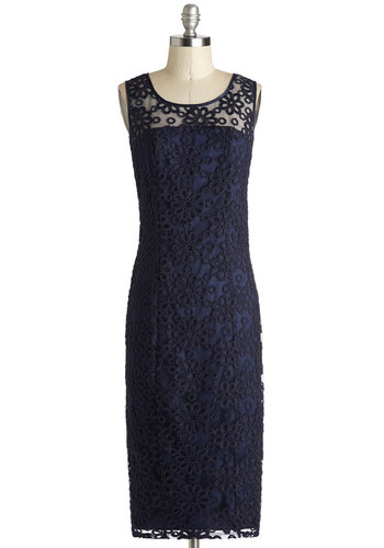 Go Out On a Vim Dress - Long, Sheer, Woven, Blue, Solid, Embroidery, Shift, Sleeveless, Better, Scoop, Wedding, Cocktail, Bridesmaid