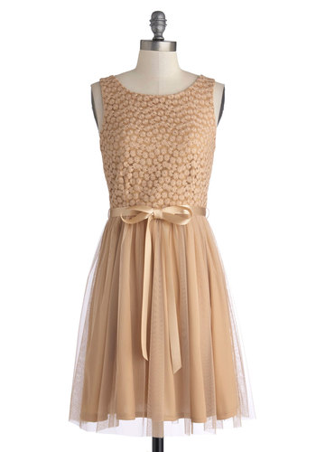 Flower Arch Dress - Knit, Tan, Solid, Lace, Belted, Party, A-line, Tank top (2 thick straps), Good, Scoop, Fairytale, 20s, Mid-length, Wedding, Bridesmaid
