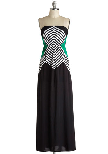 Optical It a Night Dress - Long, Woven, Black, Green, White, Stripes, Casual, Maxi, Strapless, Good