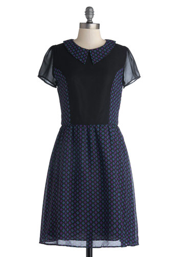 Mystery Movie Date Dress - Mid-length, Chiffon, Woven, Sheer, Purple, Blue, Black, Print, Peter Pan Collar, A-line, Short Sleeves, Better, Collared, Party